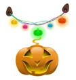 Glowing pumpkins and colorful garland decor vector image