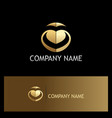 abstract letter v love gold logo vector image