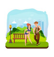 couple dancing hip-hop dance in a recreation park vector image
