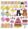 Happy Birthday party elements set vector image