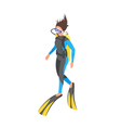 Isometric 3d of diver woman vector image