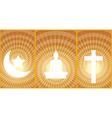 Three great religions Buddhism Christianity Islam vector image