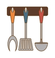 color rack utensils kitchen icon vector image