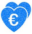 euro favorites hearts grunge icon vector image