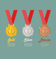 gold silver and bronze medals infographic vector image