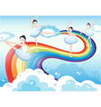 Ballet dancers in the sky with a rainbow vector image