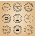 black post stamps for valentine day - elements vector image