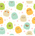 Seamless pattern with cute cartoon smiley monsters vector image