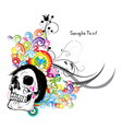skull with floral vector image