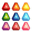 a set of colored triangle gems vector image