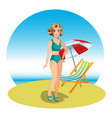beautiful woman on tropical beach vector image