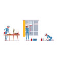 female janitor wiping indoors vector image