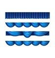 Pelmet blue curtains set vector image