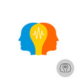 two heads with lamp logo teamwork synergy sign vector image