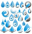 Set of water drop icons symbols signs and logos vector image