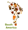 Coffee in shape of South Africa map vector image vector image