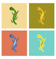 assembly flat icons lizard reptile vector image