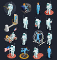 astronauts isometric characters set vector image