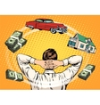 Business dreams buyer home car income money vector image