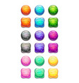 colorful round and square cartoon buttons set vector image