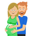husband touches the belly of her pregnat wife vector image