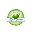 lime fruit label of natural lemon and citrus juice vector image