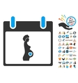 Pregnant Woman Calendar Day Flat Icon With vector image