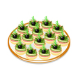 cucumber sandwiches with sausage and olives on a p vector image