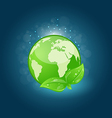 Global planet and eco green leaves vector image