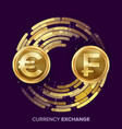 money currency exchange euro franc vector image