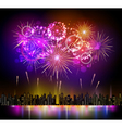 holiday firework and night city vector image