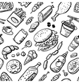 seamless pattern with fast food products vector image vector image