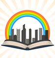 a book with a rainbow over city vector image