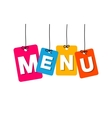 colorful hanging cardboard Tags - menu vector image