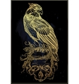 Detailed hand drawn bird of prey on a skull vector image