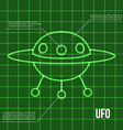 Ufo flying disc indicator on retro display vector image