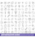 100 navigation icons set outline style vector image