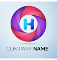 Letter H logo symbol in the colorful circle vector image
