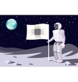 Robot on the moon Banner with a chip Blue earth vector image