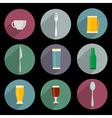 Flat Icons of kitchen objects vector image