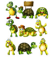 Turtle actions vector image vector image