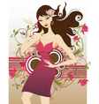 floral fashion girl vector image vector image