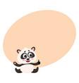 cute smiling baby panda character sitting showing vector image