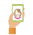 Hand Holds Smartphone vector image