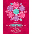 Red grunge Christmas card with snowflakes stars vector image