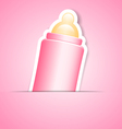 pink frame with baby bottle vector image