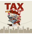 businessman with tax and debt on the rope vector image vector image
