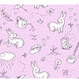 Spring doodles seamless pattern vector image
