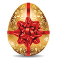 Golden Egg with Red Bow2 vector image