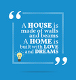 Inspirational motivational quote A house is made vector image